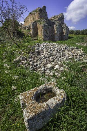 Roman ruins in ancient Aptera, Crete, Greece