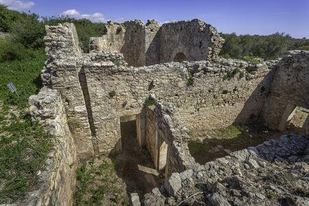Ruins of roman bath in ancient Aptera, Crete, Greece 免版税图像