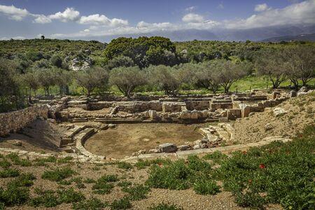 Roman theater in ancient Aptera, Crete, Greece 免版税图像