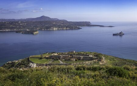 Panoramic view with famous Ottoman fortified old castle of Intzedin near Chania, Crete, Greece 免版税图像