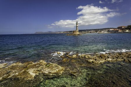 The bay of  Chania with lighthouse, Crete, Greece