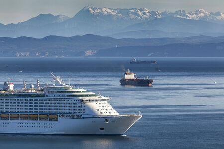 Cruise ship coming in the port of Koper, Slovenia 免版税图像