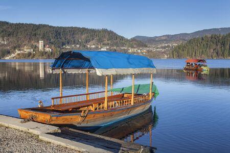 Boats on lake Bled, Slovenia