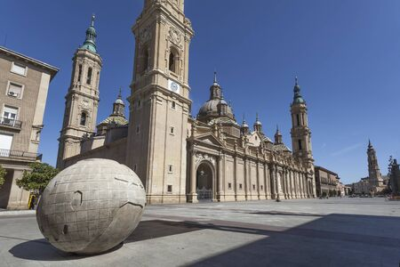 City center of Zaragoza with the Cathedral of Our Lady of the Pillar, Spain 免版税图像