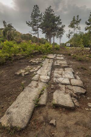 Excavated roman road in Novae near Svishtov, Bulgaria 免版税图像