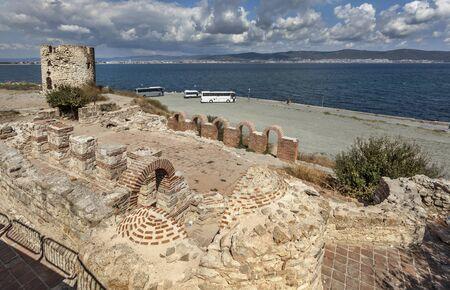 Ruins of early christian church in Nessebar, Bulgaria 免版税图像