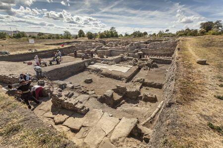 Archaeological excavation of the roman town Deultum in Debelt, Bulgaria 免版税图像