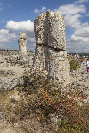Stone formations Pobiti Kamani near Varna, Bulgaria 免版税图像