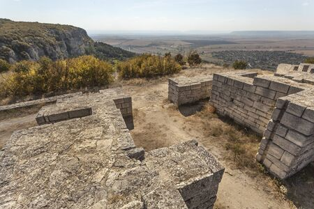 Ruins of roman fortress on the hill above Madara, Bulgaria 免版税图像