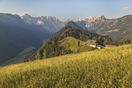 Beautiful view in Kamnik-Savinja Alps over Logarska valley, Slovenija