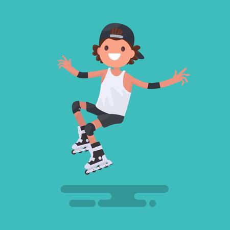 Vrolijke jongen rijden op rolschaatsen. illustratie van een plat ontwerp