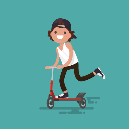Cheerful guy riding a scooter. illustration