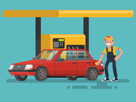 car wash: Worker washing a car at the car wash. illustration Illustration