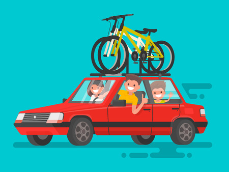 family isolated: Happy family riding in a car. Bicycle trip Illustration