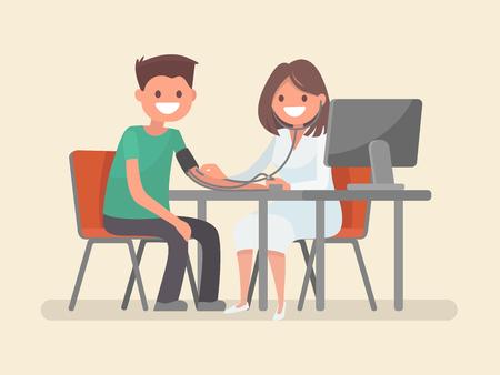 Femme médecin mesure la pression chez le patient. Illustration vectorielle dans un style plat. Banque d'images - 69882403