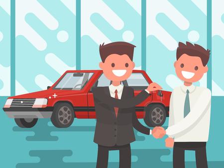 Ein Auto kaufen. Der Verkäufer bezahlt dem Fahrzeughalter die Schlüssel. Vektorillustration in einer flachen Art. Vektorgrafik