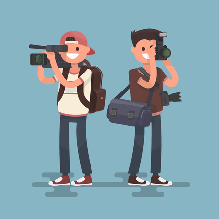 videographer: Occupation photographer and videographer. Vector illustration in a flat style. Illustration