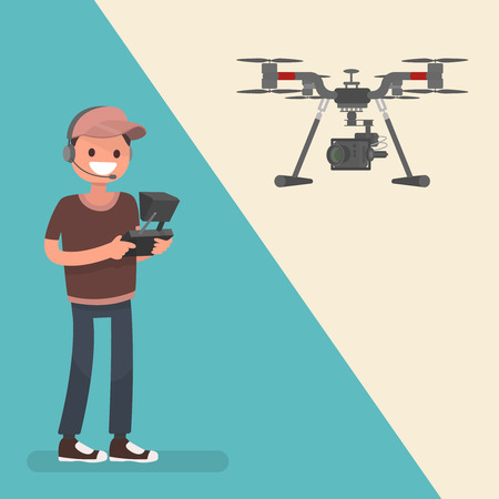 Quadrocopters camera. Professional equipment for shooting from a height. drone Management. Vector illustration in a flat style.