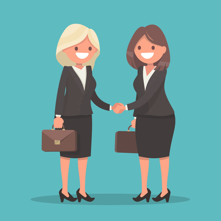 Business agreement. Handshake of two business women. Vector illustration in a flat style. Vectores