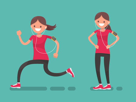 endurance run: A woman while jogging and afterwards. Sportswoman. Vector illustration in a flat style. Illustration