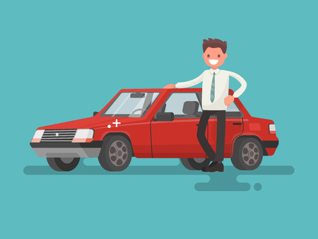 Happy motorist. The man next to the car. Sold in the showroom. Vector illustration in a flat style.