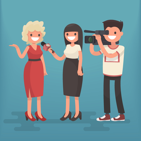 A journalist interviews a woman. Vector illustration in a flat style