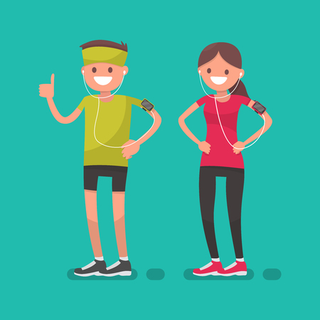 A man and a woman after jogging. Athletes. Vector illustration in a flat style