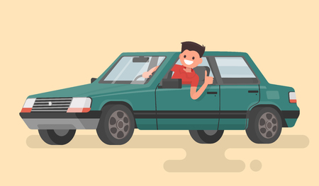 A man driving a car. Car owner. Vector illustration in a flat style