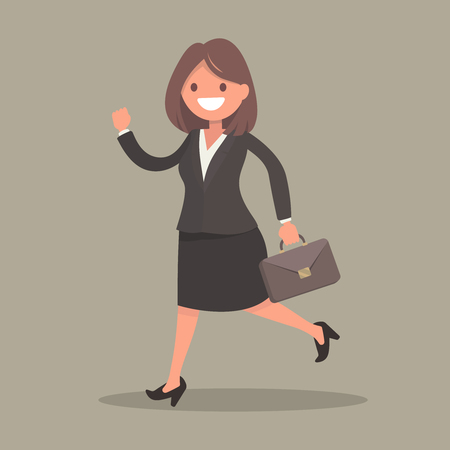 Running business woman with potfelem. Vector illustration in a flat style