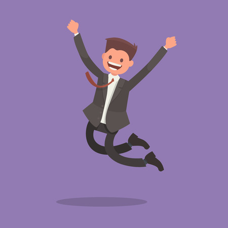 Feliz hombre de negocios. Empleado de oficina salta de alegría. Ilustración del vector en un estilo plano