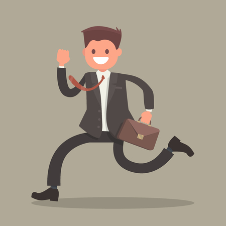 idea hurdle: Running businessman with a briefcase. Vector illustration in a flat style