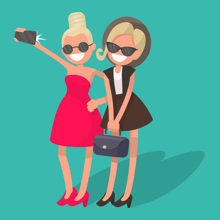 Two girls doing selfie phone. Vector illustration in a flat style
