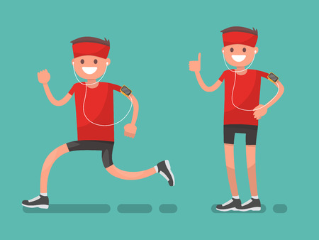 Man while jogging and afterwards. Vector illustration in a flat style