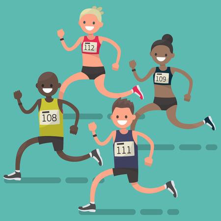 Running marathon athletes. Vector illustration in a flat style