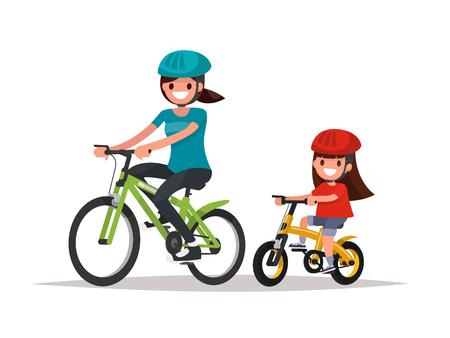 Cyclisme. Mère et fille font du vélo. Illustration vectorielle d'un design plat
