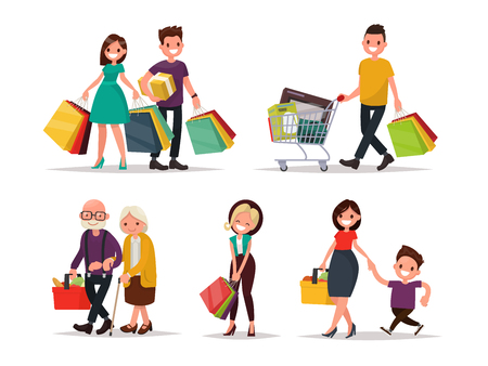 Set of characters and people shopping. Vector illustration of a flat design Illustration