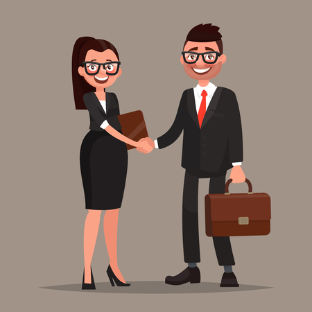 Business cooperation. Handshake of two business partners. Vector illustration of a flat design 版權商用圖片 - 69881409