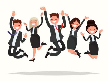 Die Geschäftsleute, die einen Sieg feiern, springen auf einen weißen Hintergrund. Vektorillustration eines flachen Designs