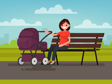 Motherhood. Young mother sitting on a bench with a pram in the park. Vector illustration of a flat design