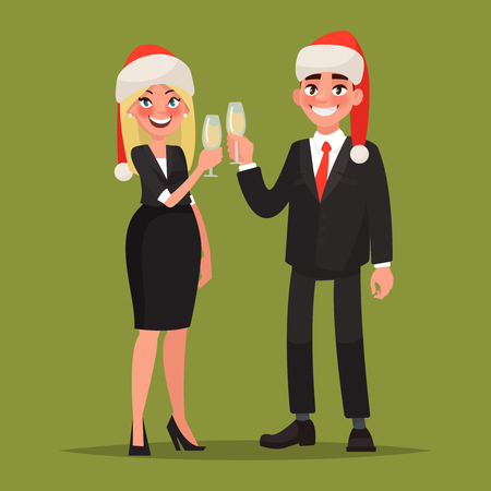 Business people dressed in Christmas hats  congratulate on the holiday. Man and woman with glasses of champagne. Vector illustration