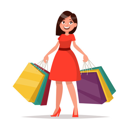 Happy shopper. The girl holds packages. Big Sale. Vector illustration of a flat design
