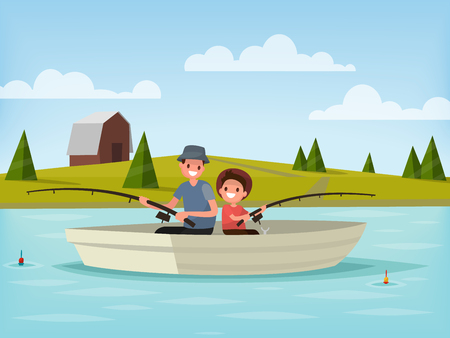 Fishing on the lake. Father and son go fishing while sitting in a boat. Vector illustration 矢量图像