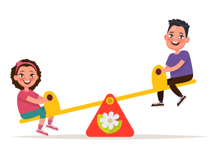 playmates: Patio de recreo. Los niños en un balanceo. Ilustración del vector