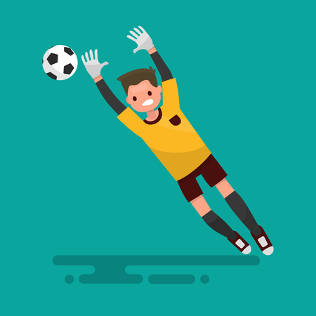 Goalkeeper catches the ball. Football. Vector illustration of a flat design