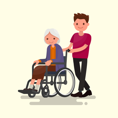 Social worker on a walk with disabled grandmother in a wheelchair. Vector illustration of a flat design