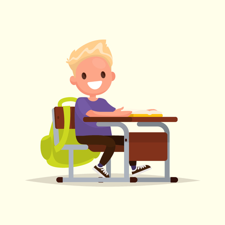 school: Student elementary school. The schoolboy sits at a school desk. Vector illustration of a flat design
