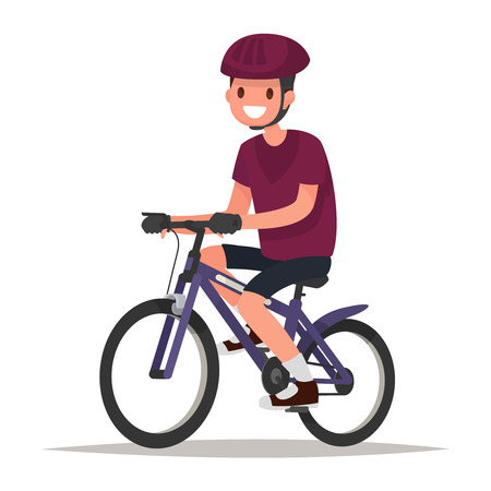 Cyclist. Man dressed in sports clothes and helmet  rides on the bicycle. Vector illustration of a flat design