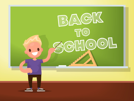 Back to school. Schoolboy at the blackboard. Vector illustration of a flat design
