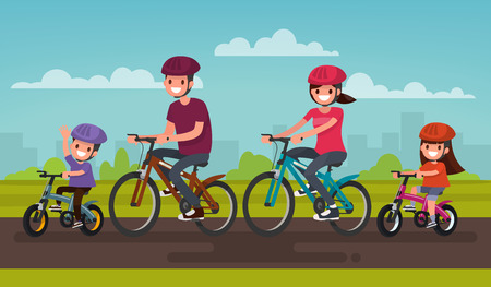 Active family vacation. Father mother, son and daughter are riding on bicycles in the park. Vector illustration of a flat design Illustration