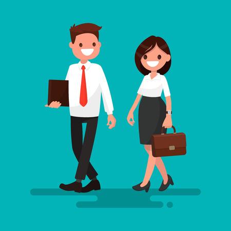 Two business partner go together. Vector illustration of a flat design Illustration